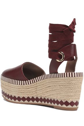 eed0b68fe ... TORY BURCH Lace-up leather platform espadrilles