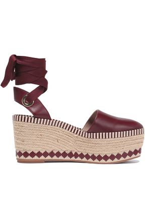 TORY BURCH Leather wedge espadrille sandals
