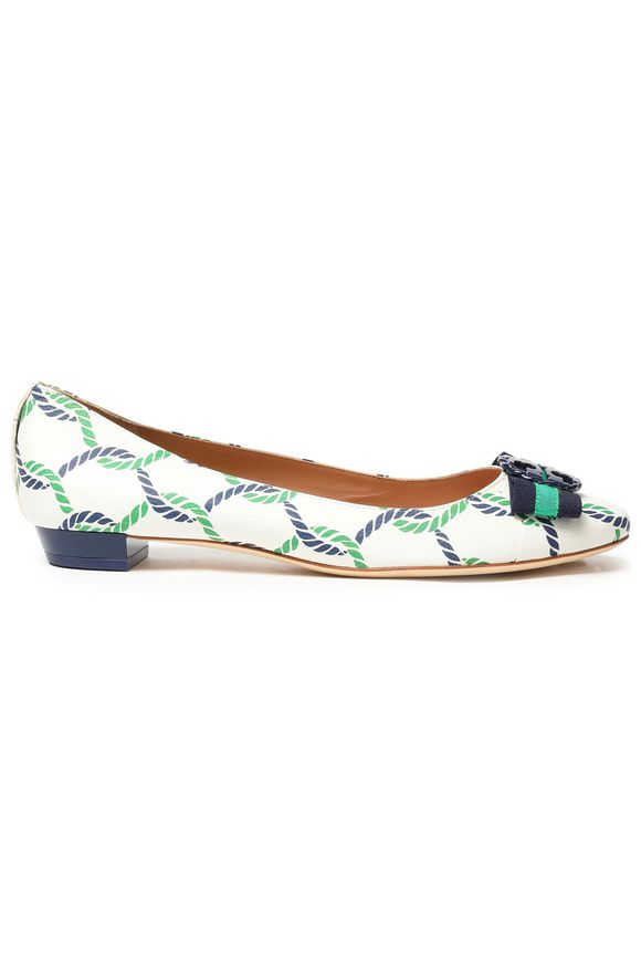 TORY BURCH Embellished printed leather ballet flats