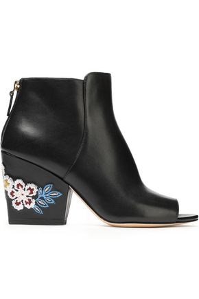 TORY BURCH Appliquéd leather ankle boots
