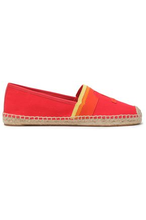 TORY BURCH Laguna appliquéd canvas espadrilles