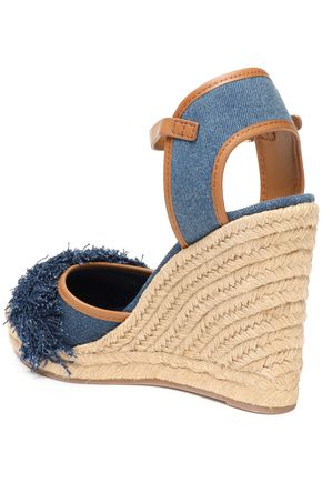 TORY BURCH Shaw fringed denim wedge espadrilles