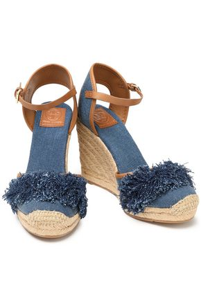5c3a73fdb TORY BURCH Shaw fringed denim wedge espadrilles