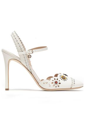 TORY BURCH Floral-appliqué scalloped leather sandals