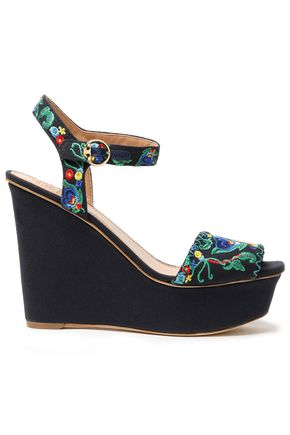 TORY BURCH Embroidered canvas wedge sandals