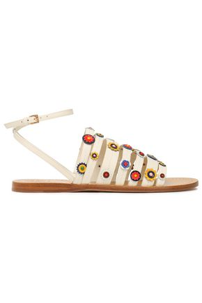 TORY BURCH Marguerite floral-appliquéd leather sandals