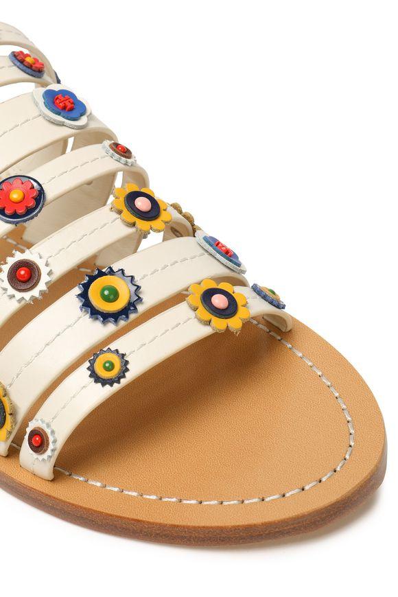 67707edf65b7 Marguerite floral-appliquéd leather sandals