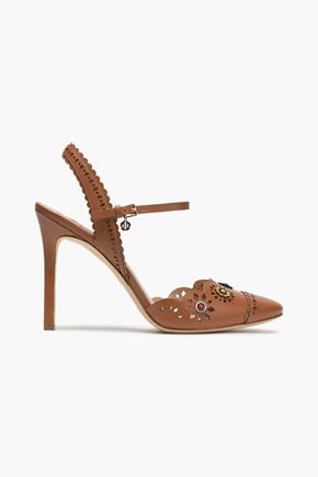TORY BURCH Floral-appliquéd scalloped leather sandals
