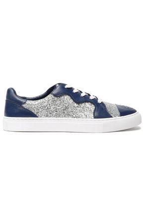 TORY BURCH Glittered leather sneakers