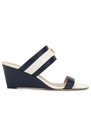 TORY BURCH Embellished striped leather wedge sandals