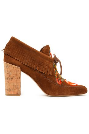 TORY BURCH Embroidered fringed lace-up suede ankle boots