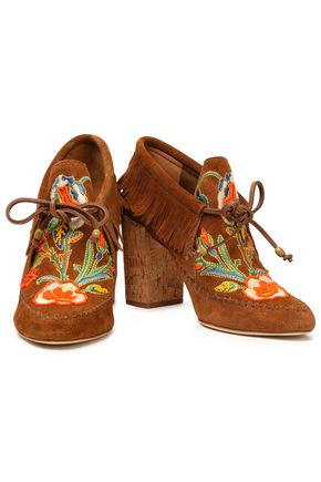 8f5ab80fc0d ... TORY BURCH Embroidered fringed lace-up suede ankle boots ...