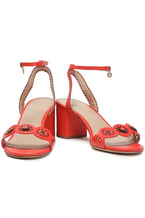 Tory Burch Woman Marguerite Floral-appliquéd Leather Sandals Black Size 7.5 Tory Burch DSkLRZog5p