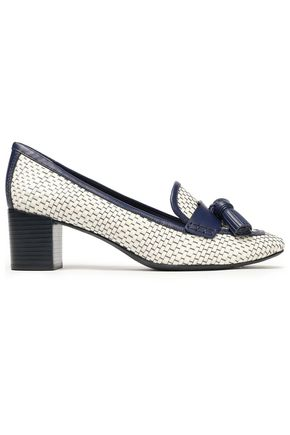 TORY BURCH Tasseled two-toned woven leather pumps