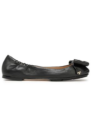 TORY BURCH Bow-embellished leather ballet flats