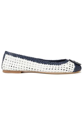 TORY BURCH Two-tone woven leather ballet flats