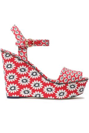 TORY BURCH Printed canvas wedge sandals
