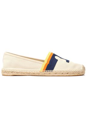TORY BURCH Leather-appliquéd canvas espadrilles