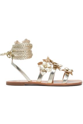 TORY BURCH Floral-appliquéd metallic leather sandals