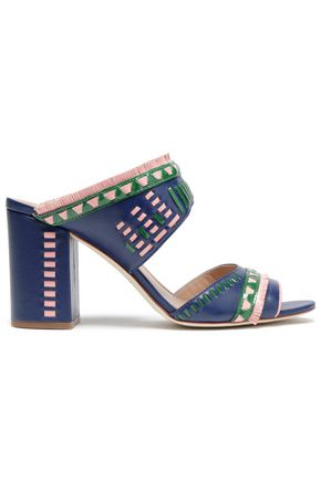 TORY BURCH Fringe-trimmed embroidered leather sandals