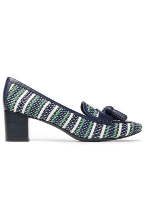 TORY BURCH Tasseled woven leather pumps