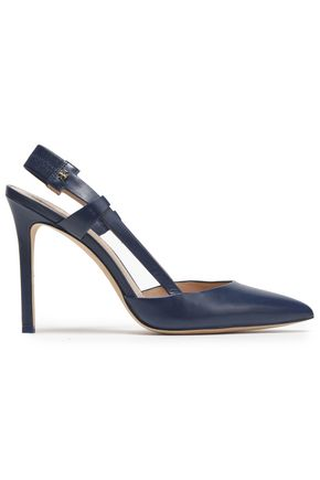 TORY BURCH Cutout leather slingback pumps