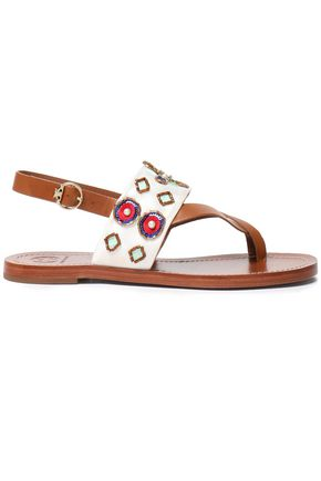 TORY BURCH Embellished embroidered leather sandals
