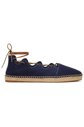TORY BURCH Embroidered lace-up canvas espadrilles