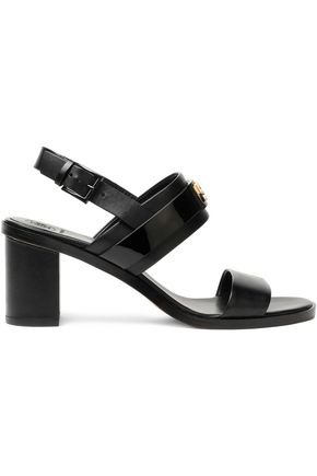 TORY BURCH Embellished smooth and patent-leather sandals