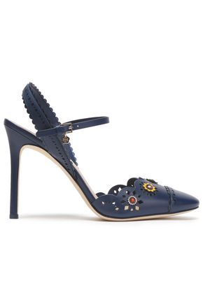 TORY BURCH Floral-appliquéd scalloped leather sandals ...