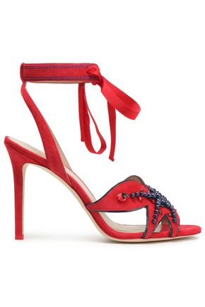 TORY BURCH Embellished suede sandals