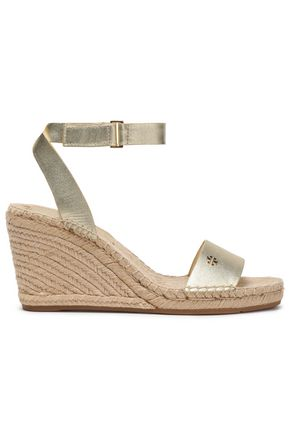 TORY BURCH Metallic leather wedge espadrilles