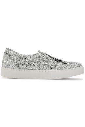 CHIARA FERRAGNI Appliquéd glittered sneakers