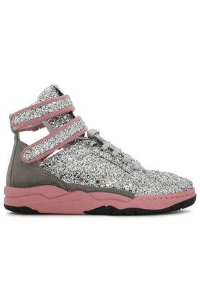 CHIARA FERRAGNI High-top sequinned suede sneakers