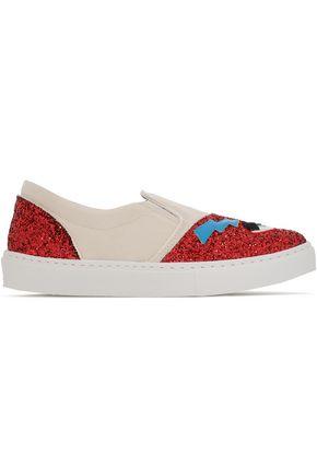 CHIARA FERRAGNI Appliquéd glittered canvas sneakers