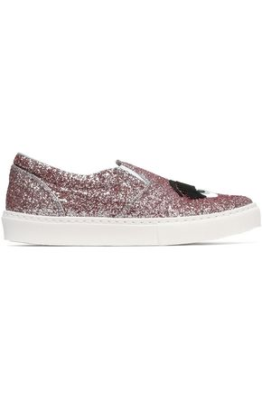 CHIARA FERRAGNI Glittered appliquéd slip-on sneakers