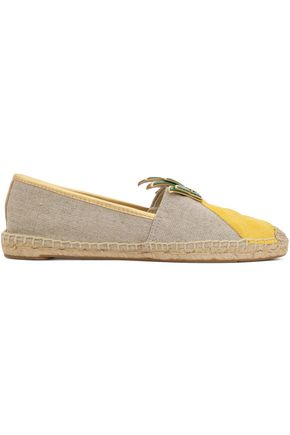 TORY BURCH Appliquéd leather-trimmed canvas espadrilles