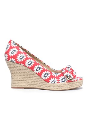 TORY BURCH Bow-embellished printed wedge espadrilles
