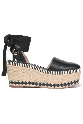 TORY BURCH Lace-up leather platform espadrilles