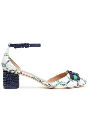 TORY BURCH Printed embellished leather pumps