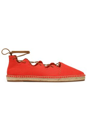 Tory Burch Woman Embroidered Lace-up Canvas Espadrilles Red Size 5 Tory Burch PMmJLO3F