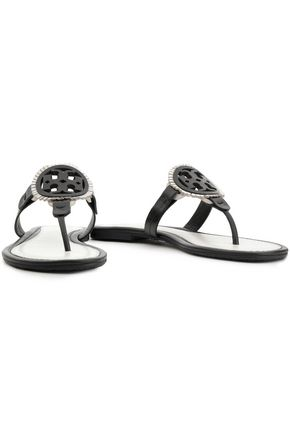Fringe Trimmed Leather Slides by Tory Burch