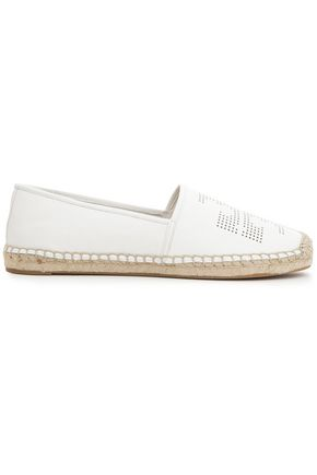 TORY BURCH Perforated leather espadrilles