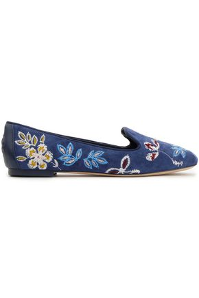 TORY BURCH Leather-trimmed embroidered suede slippers
