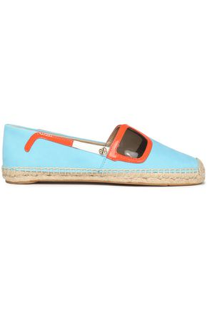 TORY BURCH Appliquéd leather espadrilles