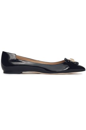 TORY BURCH Embellished patent-leather point-toe flats