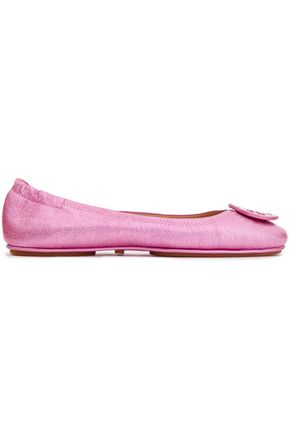TORY BURCH Embellished metallic cracked-leather ballet flats