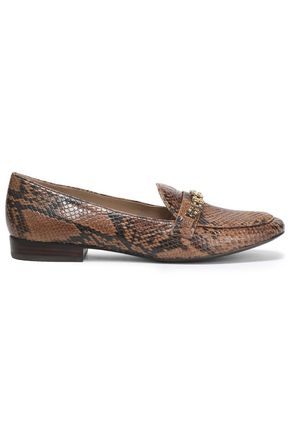 TORY BURCH Chain-embellished snake-effect leather loafers