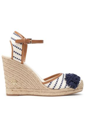 TORY BURCH Leather-trimmed fringed canvas wedge espadrilles