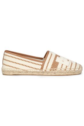 TORY BURCH Leather-trimmed embroidered canvas espadrilles